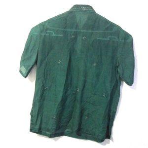 L. B. Llantos Shirts - L.B. llantos Embroidered Green Button Down Shirt M